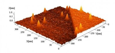 Hillocks on an insulator surface induced by slow, highly charged ions in an AFM image