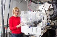 Eva Sevcsik in the Biophysics Lab