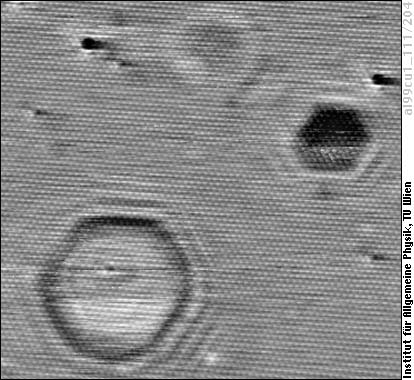 STM image of an Al(111) surface with subsurface Ar bubbles